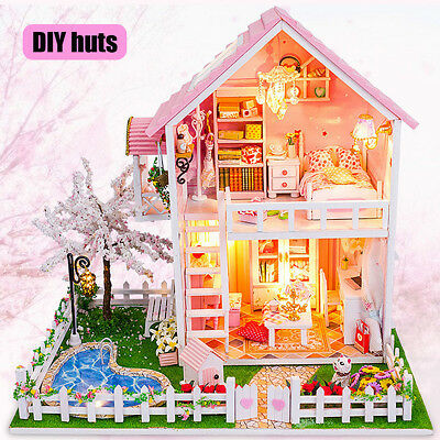 AU Christmas DIY Doll House LED Cabin Miniature Wooden Assembled Kids Toy Gift