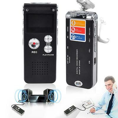 Rechargeable 8GB Digital Sound Voice Recorder Dictaphone MP3 Player record UP