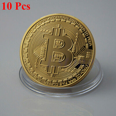 10Pcs Gold Plated Bitcoin Coin Commemorative Collectible Collection Physical RR