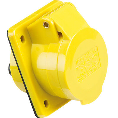 Yellow 110V 16 Amp 3 Pin Industrial Angled Panel Mount Socket Ip44 Female 2P + E