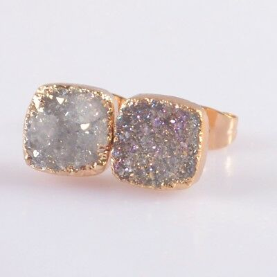 8mm Square Natural Agate Druzy Titanium AB Stud Earrings Gold Plated B047976