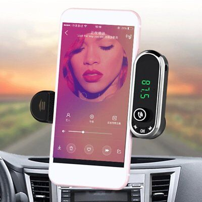 Car Bluetooth Wireless Player Charger Phone Holder FM Radio LCD screen display T