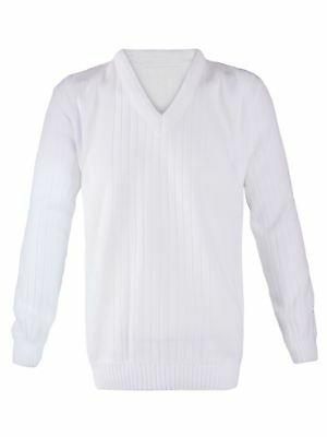 Mens Classic Lawn Bowling V-Neck Knitted White Ribbed Jumper Cardigan Vest Sweat