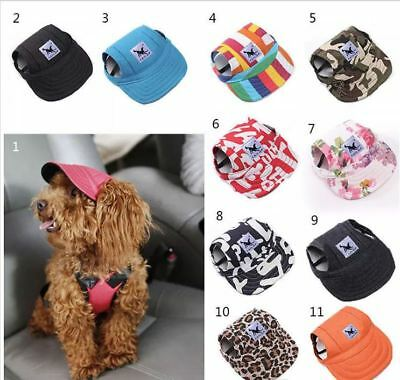 Dog Baseball Cap Outdoor Pet Sun Hat Summer Canvas Visor Puppy - Size Sm & Med