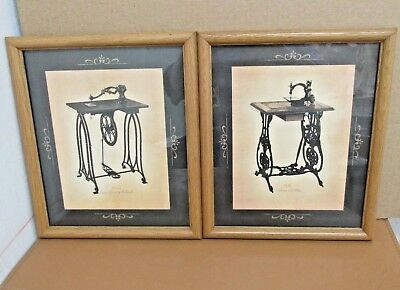 2 Jay Zimm Antique Sewing Machine Framed Prints Pictures Landfears Wilcox Gibb