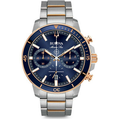 Bulova Mens Marine Star Stainless Steel Chronograph Watch with Blue Dial, 98B301