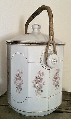 Vintage French Hand-Painted Floral White Enamel Bucket & Lid ~ Wicker Handle
