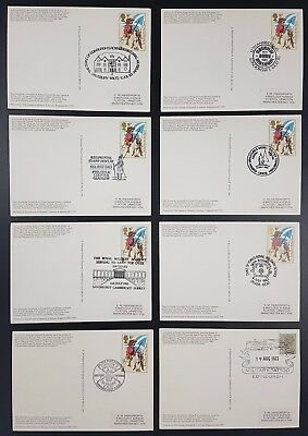 King Edward Building PPC's, Set of 8, Collected for Military Postmark Interest
