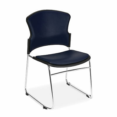 Anti-Microbial/Anti-Bacterial Stack Chair, Navy 4 pk
