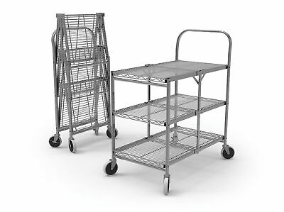 "Collapsible Wire Utility Cart 33.75""W x 19.5""D x 39.5""H Three-Shelf 1 ea"