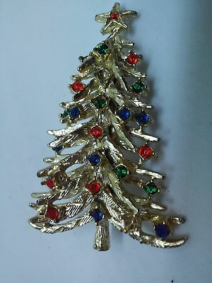 Colored Stones Christmas Tree Brooch Pin