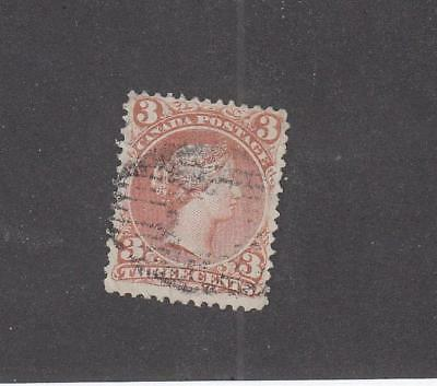 CANADA  (LOT MK749)  #25ii   FVF  3cts  LARGE QUEEN ROSE RED CAT VALUE $35