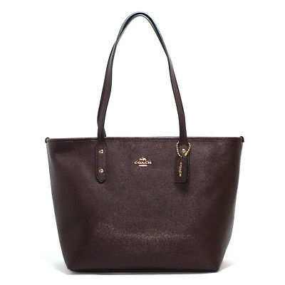 New Coach F58846 City Zip Tote In Crossgrain Leather Oxblood Purse NWT