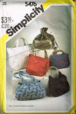 Vintage 1982 PATTERN for Variety of PURSES / BAGS Simplicity 5476 UNCUT