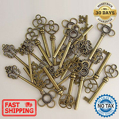 Skeleton Keys Antique Vintage Style Large in Bronze Finish 30 Key Set