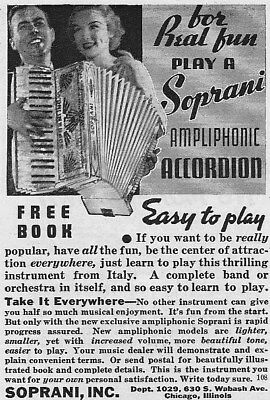 Vintage 1936 Play a SOPRANI Ampliphonic ACCORDION from ITALY print ad