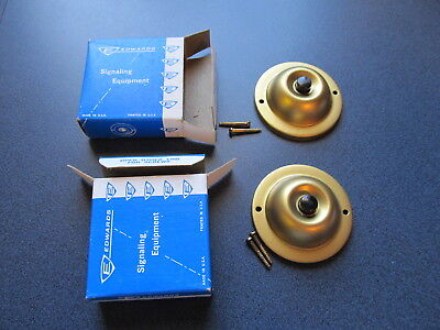 """Lot of 2 Edwards #600 Brass Door Bell Button 2 1/4"""" stamped surface push NOS USA"""