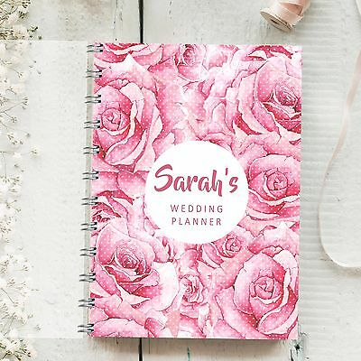 Personalised Wedding Planner Large Rose, 4 year diary, Bride to Be Journal Gift