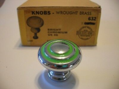 "Vtg NOS 1-1/8"" CHROME CABINET KNOBS GREEN RINGS Concentric Drawer Pulls brass"
