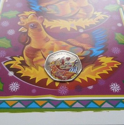 2007 Isle of Man Fifty Pence 50p Coin Christmas Coloured Card Three French Hens