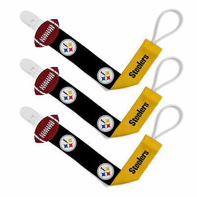 Pittsburgh Steelers 3pc Premium Pacifier Paci Clip Set Infant Baby Unisex NWT