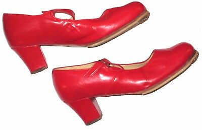 El Charro Red Leather Flamenco Dance Shoes Size 24.5 (Mexico)