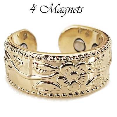 4 X Magnetic Pure Copper Ring Women Arthritis Size 6-8 Flowers & Vines Gold Gp