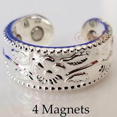 4 X Magnetic Pure Copper Ring Women Arthritis Flowers & Vines Silver Sp Size 6-8