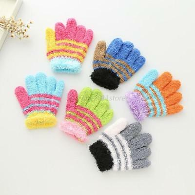 Animals Print Toddler Gloves Winter Stretchy Baby Gloves Colorful Striped Gloves