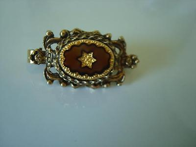 Vintage Gold Tone Hinged Scarf Clip Brown Glass With Gold Luster Star