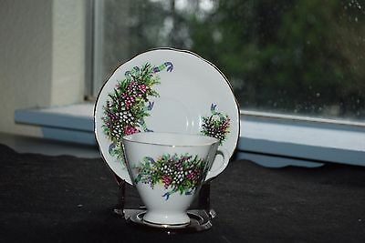 Clarence Bone China Teacup and Saucer England Pink & Purple Floral