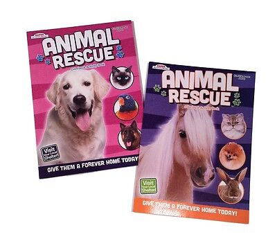 Rescue Animals Dogs Horses Kids Coloring Book Activity Books Set Of 2 NEW