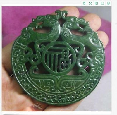 2017New Chinese Old Handwork Green Jade Carved Dragon Pendant