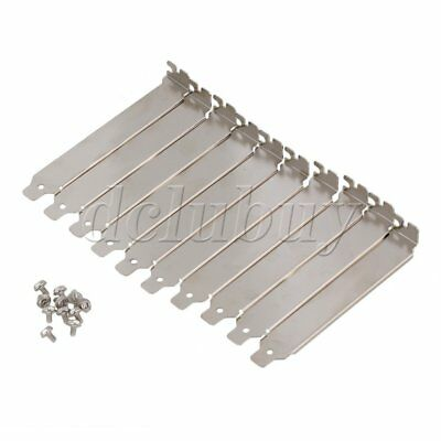 10x Silver PC Anti Dust Bracket Blank PCI Slot Cover w Screws Stainless Steel