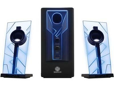 GOgroove BassPULSE Computer Speaker System with Blue LED Glow Lights & Powered S