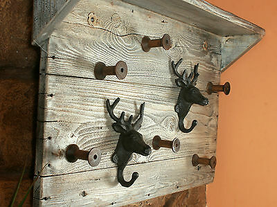 Large Retro Style Wooden Hat Coat Rack with a Shelf Handmade Antique Finish