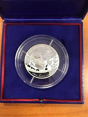 "France 20 Euro Silver Proof coin 2006 ""Jules Verne - Michel Strogoff""in box +COA"