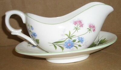 LOVELY Crown Staffordshire England China Gravy Boat & Under Plate Wildflowers