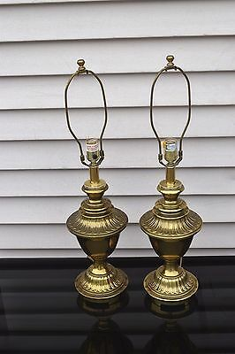 Vintage Pair of Stiffel Hollywood Regency Style Cast Iron Brass Plated Lamps.