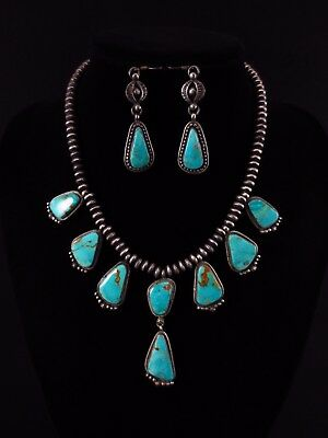 Navajo Necklace and Earring Set - Sterling Silver and Turquoise - L. James