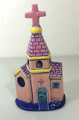 Ceramic Church Chapel Wall Pocket  or Stand Porcelain Cross Pink Blue 10""