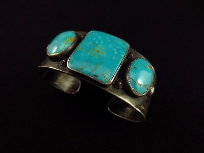 Navajo Bracelet - Coin Silver and Turquoise Cuff