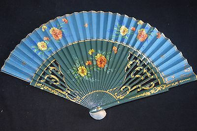 Vintage Japanese Carved Silk Fan With Hand Painted Floral Mums teal blue gold
