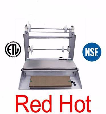 """Omcan Commercial Stainless Steel Food Wrapping Machine 2 Roll 18"""" Wide 14430 NSF"""