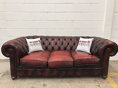 *SUPERIOR Vintage Oxblood Leather Chesterfield Of London Sofa L🇬🇧🇬🇧K*