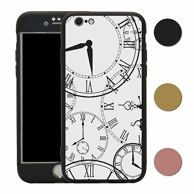 Clock 360° Case & Tempered Glass Cover For iPhone - S2577