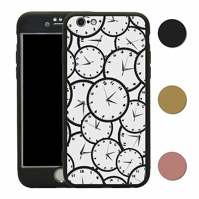 Clock 360° Case & Tempered Glass Cover For iPhone - S2582