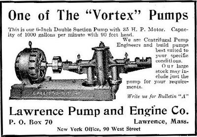 "Vintage 1912 Lawrence Pump and Engine Co. ~ "" Vortex "" Pump ad ~ Lawrence, MA"