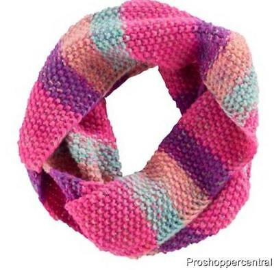 NEW Girls Accessories 4-16 SO Pink Striped Marled Knit Infinity Loop Scarf, OS
