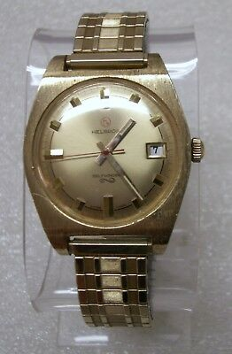 Vintage Minty Automatic Self Winding Helbros Date Watch Excellent In Baylor Box